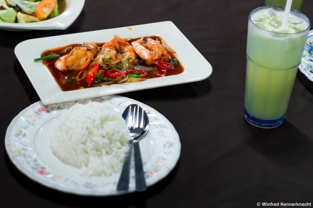 A meal of prawns in sweet and sour chili sauce served at Restoran Haji Ramli, Langkawi, Malaysia.