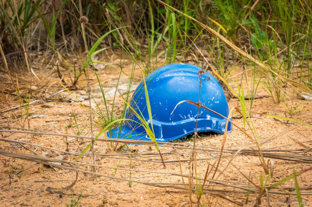 Helmet left at the ghost town construction site in Taman Sri Lambak T6, Kluang, Malaysia.
